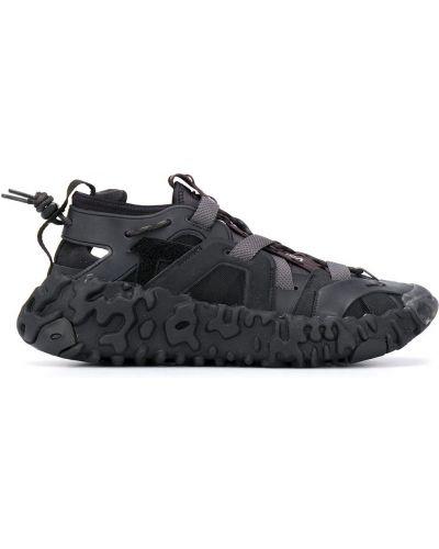 Czarny skórzany sandały okrągły nos okrągły Nike