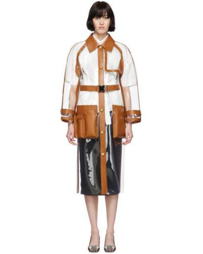 Długo płaszcz z kołnierzem z kieszeniami z długimi rękawami z haftem Fendi
