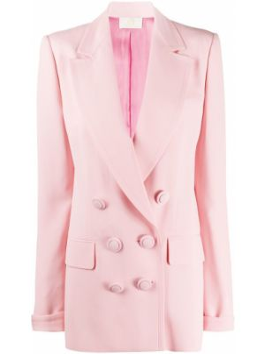 Розовый пиджак двубортный с карманами Sara Battaglia