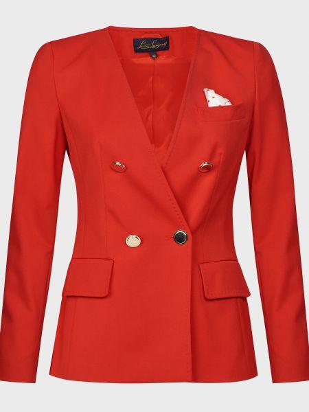 Шерстяной красный пиджак на пуговицах Luisa Spagnoli