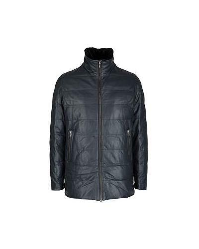 Синяя кожаная куртка Cortigiani