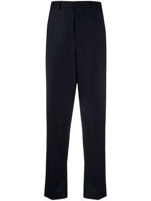 Niebieskie spodnie wełniane z paskiem Ami