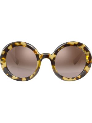 Прямые нейлоновые солнцезащитные очки круглые хаки Miu Miu Eyewear