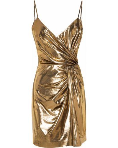 Приталенное платье мини с декольте золотое Laroom