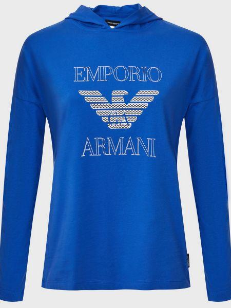 Хлопковое синее худи Emporio Armani