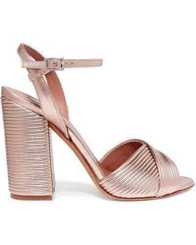 Złote sandały klamry na obcasie Tabitha Simmons