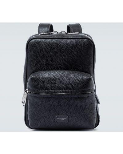 Czarny sport plecak skórzany Dolce And Gabbana