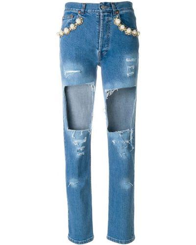 Укороченные джинсы с жемчугом синие Forte Couture