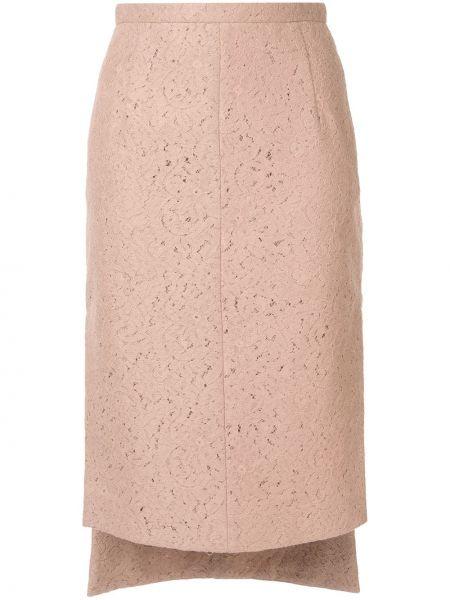 С завышенной талией асимметричная юбка миди на молнии с разрезом N°21