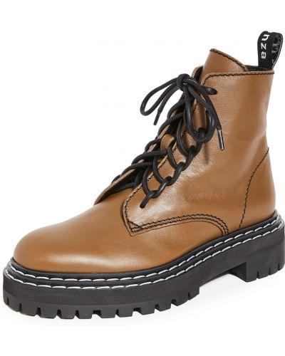 Ankle boots na platformie skorzane koronkowe Proenza Schouler