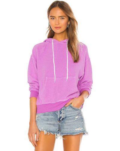Fioletowy prążkowany pulower z kapturem Monrow