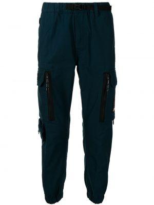 Хлопковые синие брюки карго с поясом Aape By A Bathing Ape