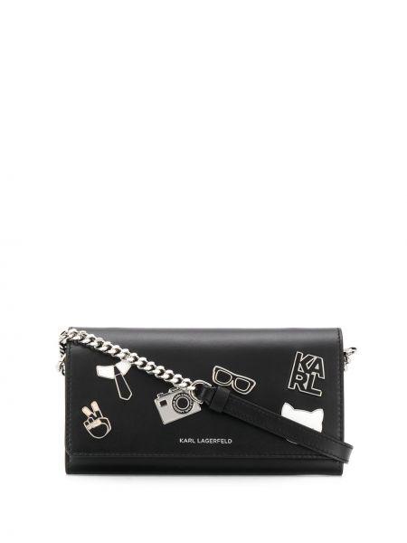 Кожаный кошелек на молнии черный Karl Lagerfeld