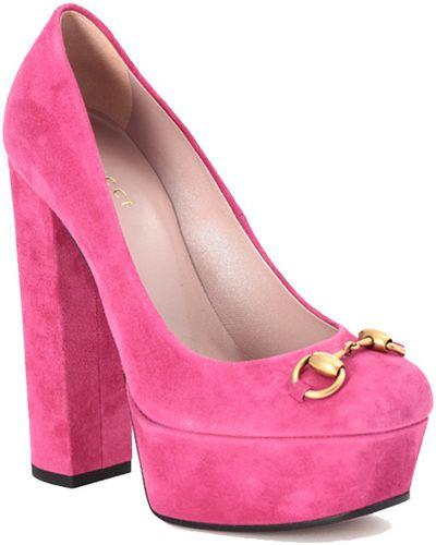 Туфли на танкетке замшевые на платформе Gucci