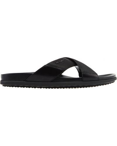 Черные сандалии на танкетке Prada