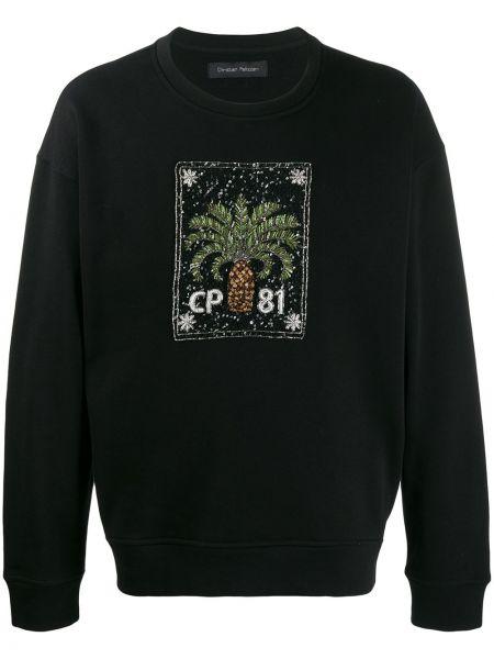 Czarna bluza z długimi rękawami bawełniana Christian Pellizzari
