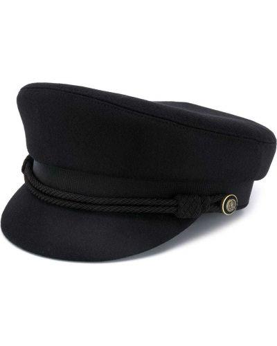 Z paskiem wełniany czarny czapka z daszkiem Saint Laurent