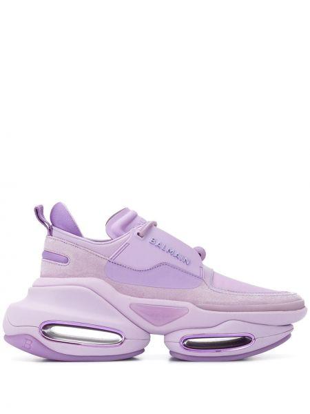 Массивные фиолетовые кроссовки на шнуровке металлические Balmain