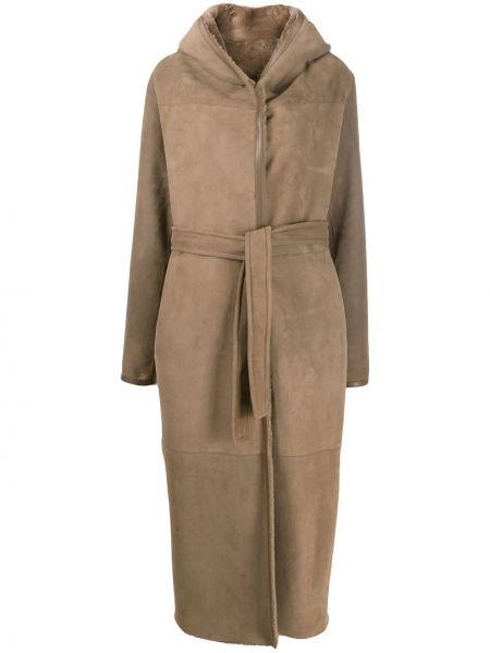 Серое кожаное длинное пальто с капюшоном Liska
