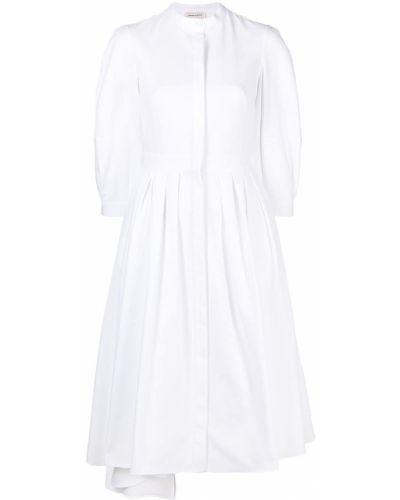 Хлопковое с рукавами белое платье макси Alexander Mcqueen