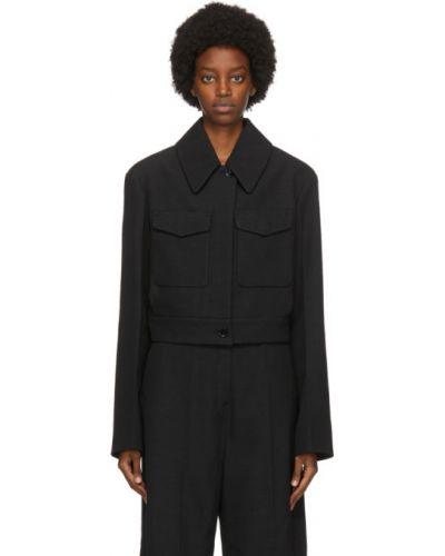 Bawełna wełniany czarny krótkie szorty z kieszeniami Lemaire