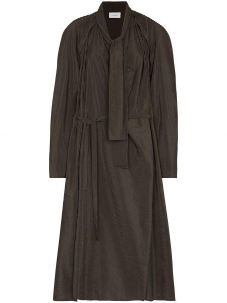 Brązowy jedwab rozbłysnął sukienka midi z długimi rękawami Lemaire