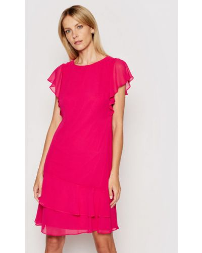 Różowa sukienka koktajlowa Lauren Ralph Lauren