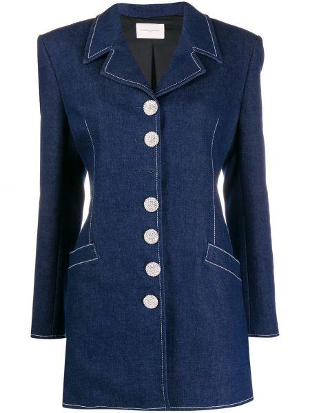 Синий удлиненный пиджак с карманами на пуговицах Giuseppe Di Morabito