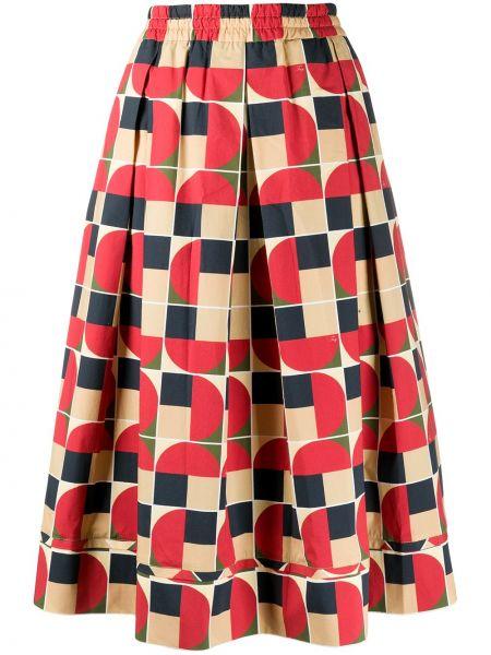 Красная с завышенной талией юбка миди в рубчик с поясом Fay