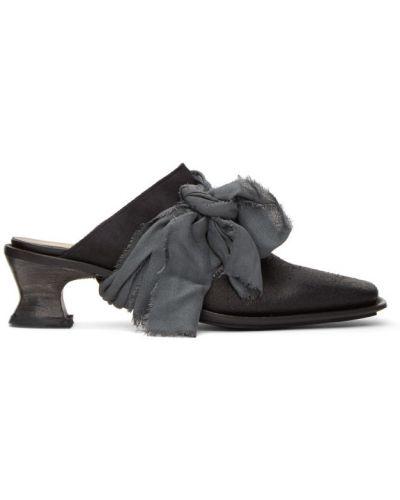 Кожаные черные мюли на каблуке квадратные Cherevichkiotvichki