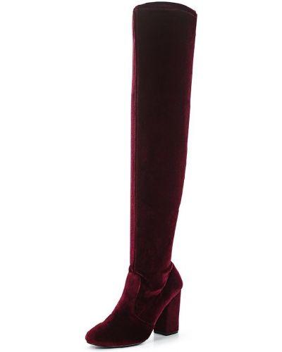 Ботфорты на каблуке красные кожаные Miss Selfridge