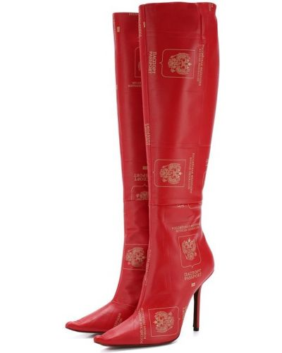 Сапоги на шпильке кожаные красные Vetements