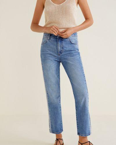 Прямые джинсы с эффектом потертости с нашивками Mango