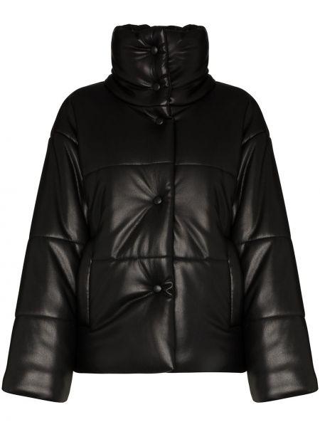 Кожаная куртка черная Nanushka