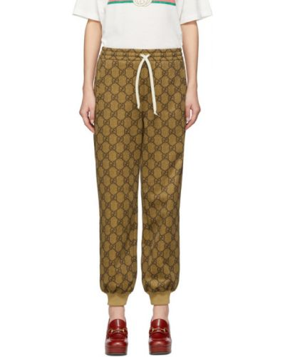 Brązowy spodnie z mankietami z kieszeniami Gucci
