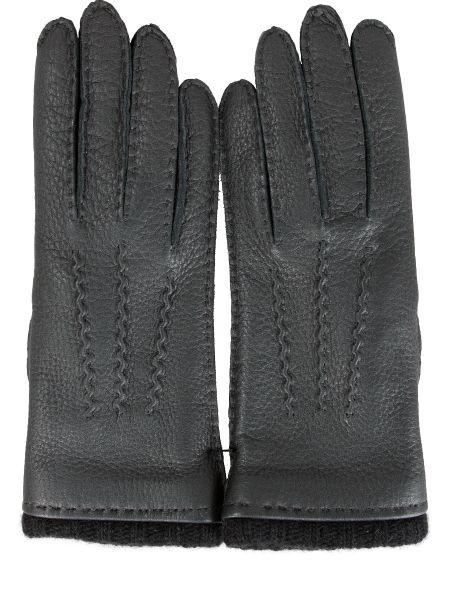 Кашемировые черные кожаные перчатки с декоративной отделкой на резинке Sermoneta Gloves