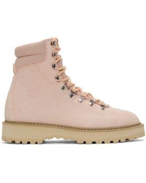 Розовые ажурные сапоги на высоком каблуке на шнуровке круглые Diemme