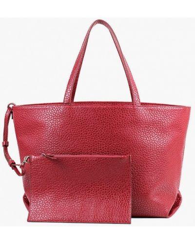 Кожаная красная сумка шоппер медведково
