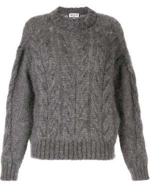 Серый свитер оверсайз со спущенными плечами из мохера в рубчик Paul & Joe