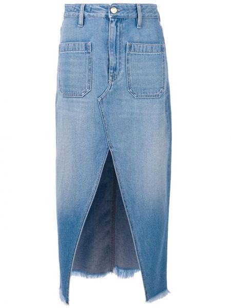 Хлопковая синяя юбка миди в рубчик The Seafarer