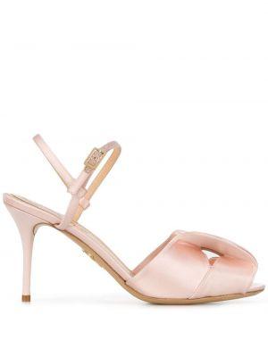 Różowe sandały skorzane peep toe Charlotte Olympia