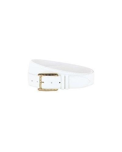 Белый кожаный ремень Pellettieri Di  Parma