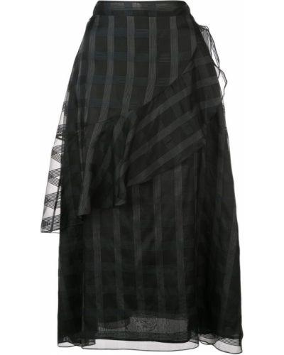 Черная приталенная юбка с оборками Jill Stuart