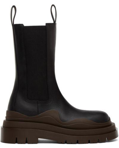Черные ботинки челси круглые с круглым носом с воротником Bottega Veneta