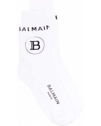 Белые хлопковые носки Balmain