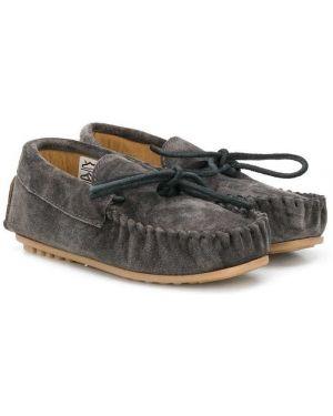 Серые кожаные мокасины на шнуровке Pèpè