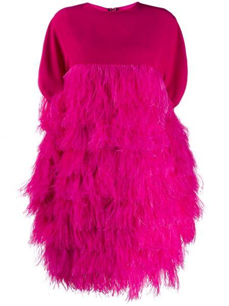 Розовое платье мини на молнии с перьями с вырезом Gianluca Capannolo