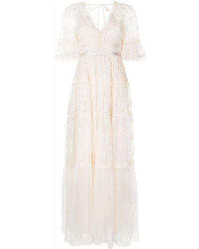 Кружевное с рукавами платье мини на молнии Needle & Thread