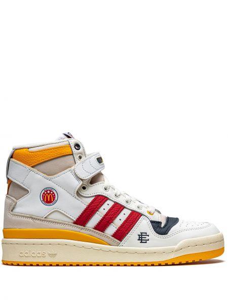 Кожаные белые высокие кроссовки на шнурках Adidas