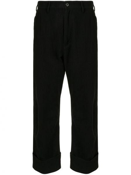 Bawełna wełniany czarny przycięte spodnie z kieszeniami Ann Demeulemeester